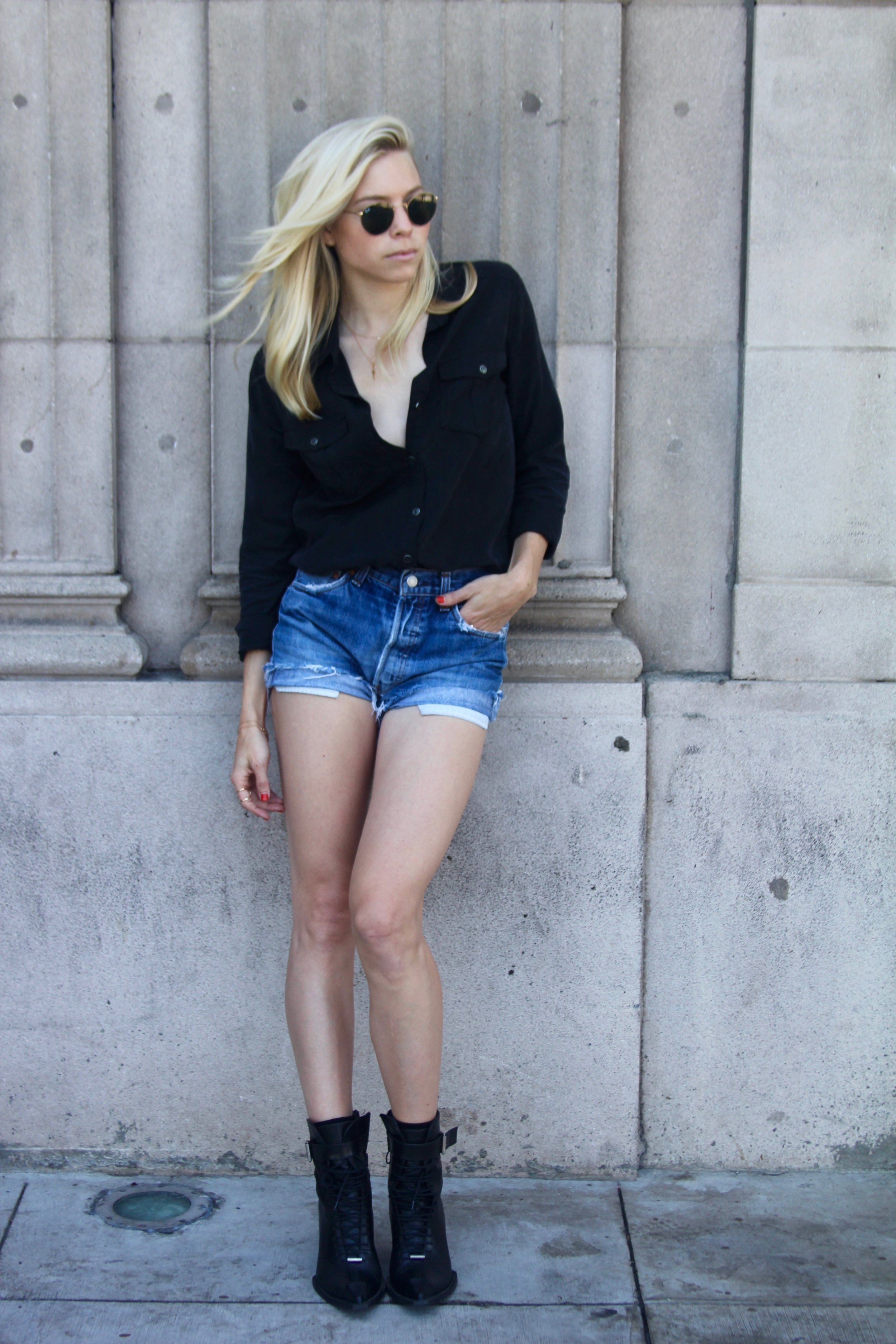 Paige button down + Levi denim shorts + Fluevog boots = RAD