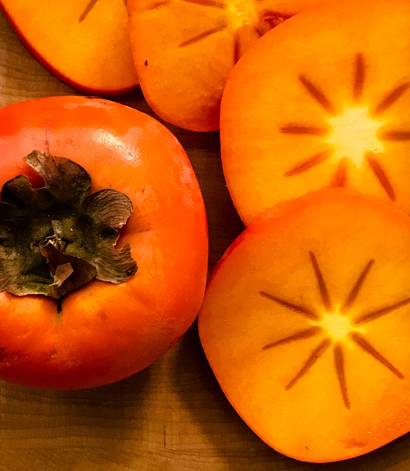 Fresh Persimmon and Slices