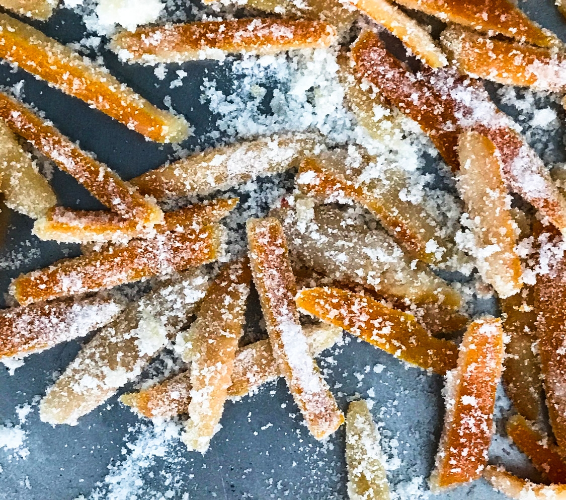 Candied Orange Peel Slices After Tossing in Sugar