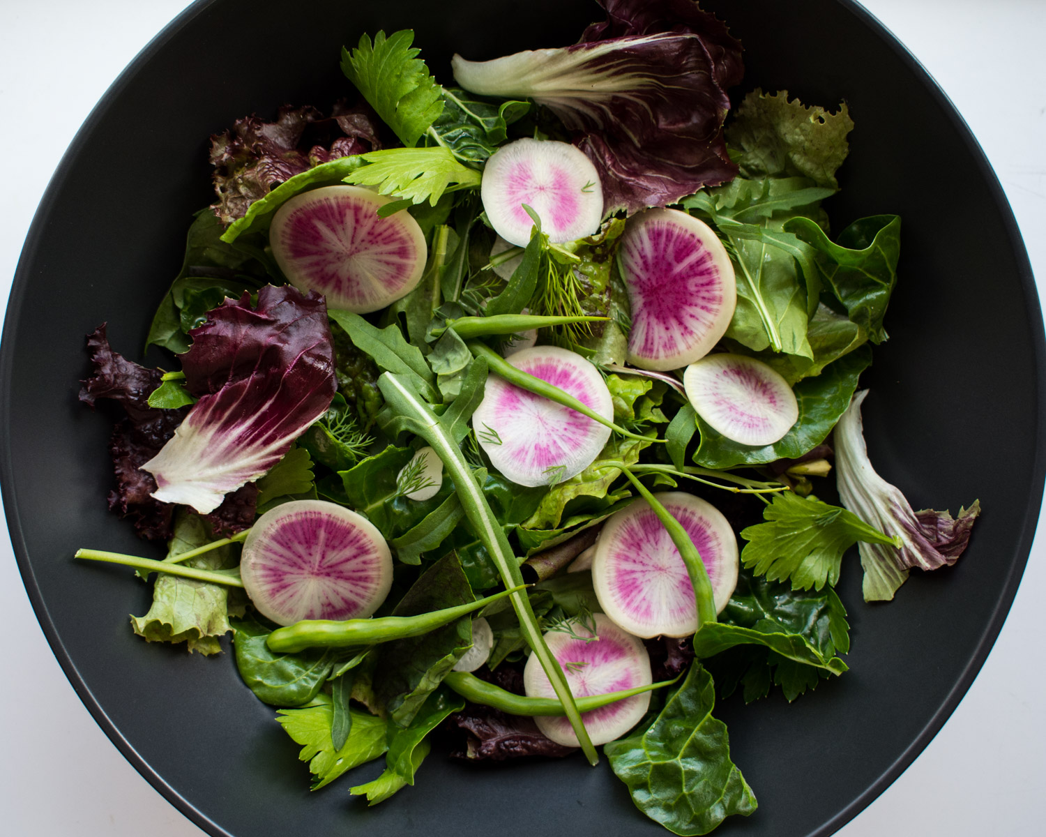 Fresh garden greens with 3 types of radish.