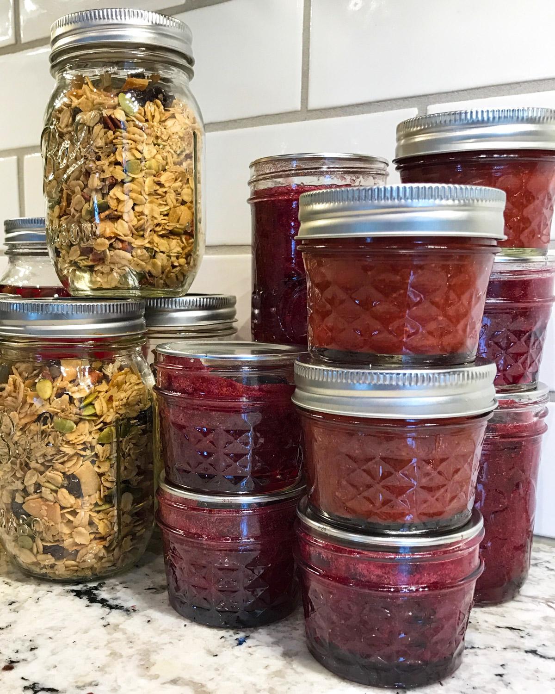 Homemade jam and granola.