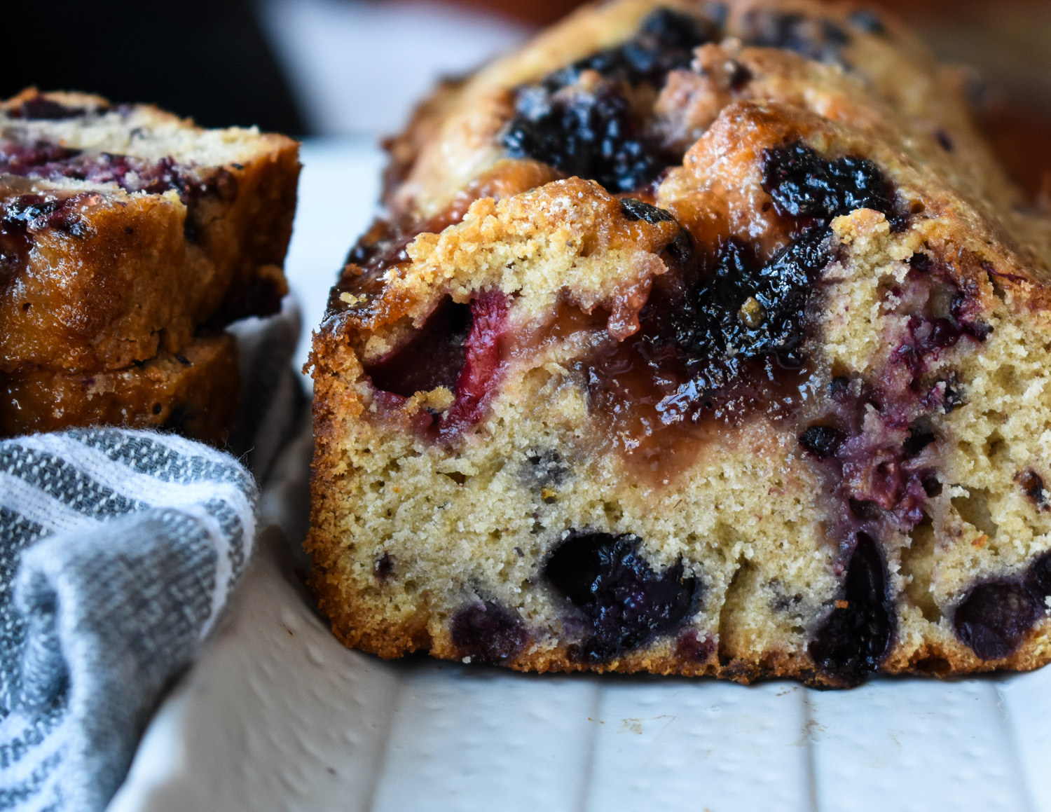 Mixed berry cake with a jam center.