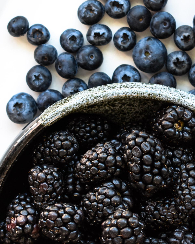 Fresh blackberries and blueberries.