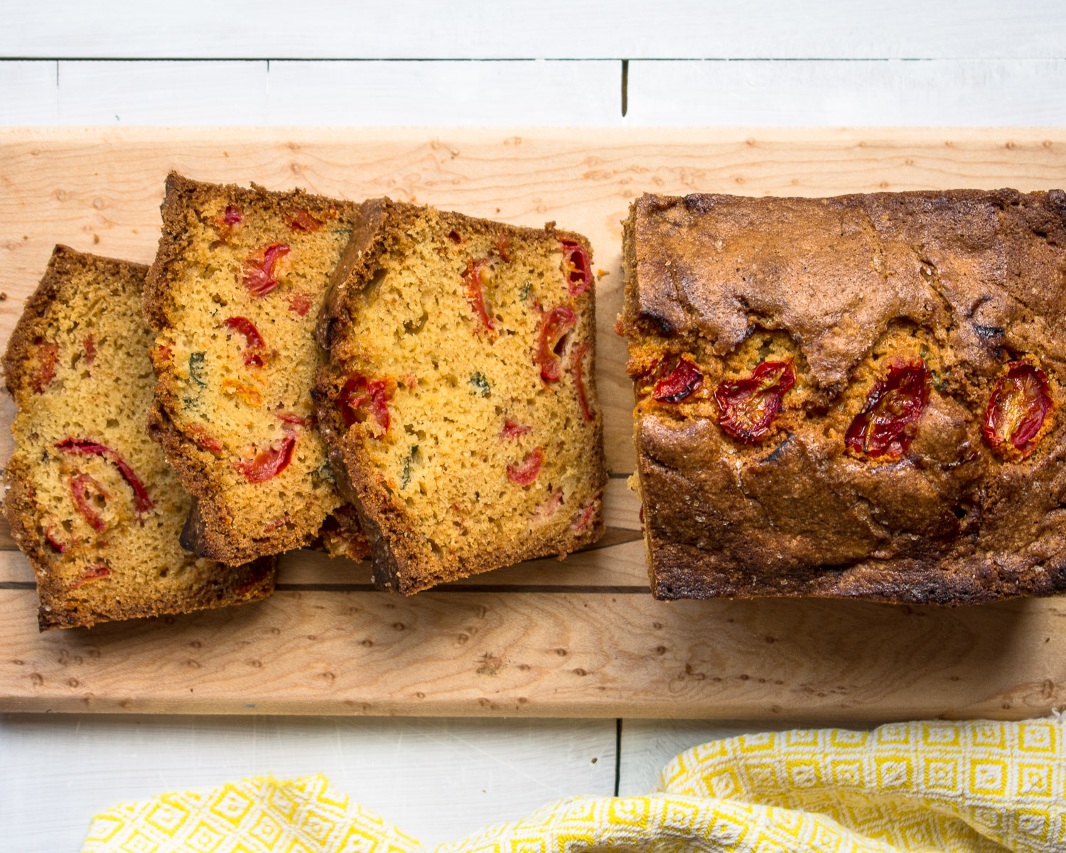 Roasted tomatoes and fresh basil make this a colorful quick bread.