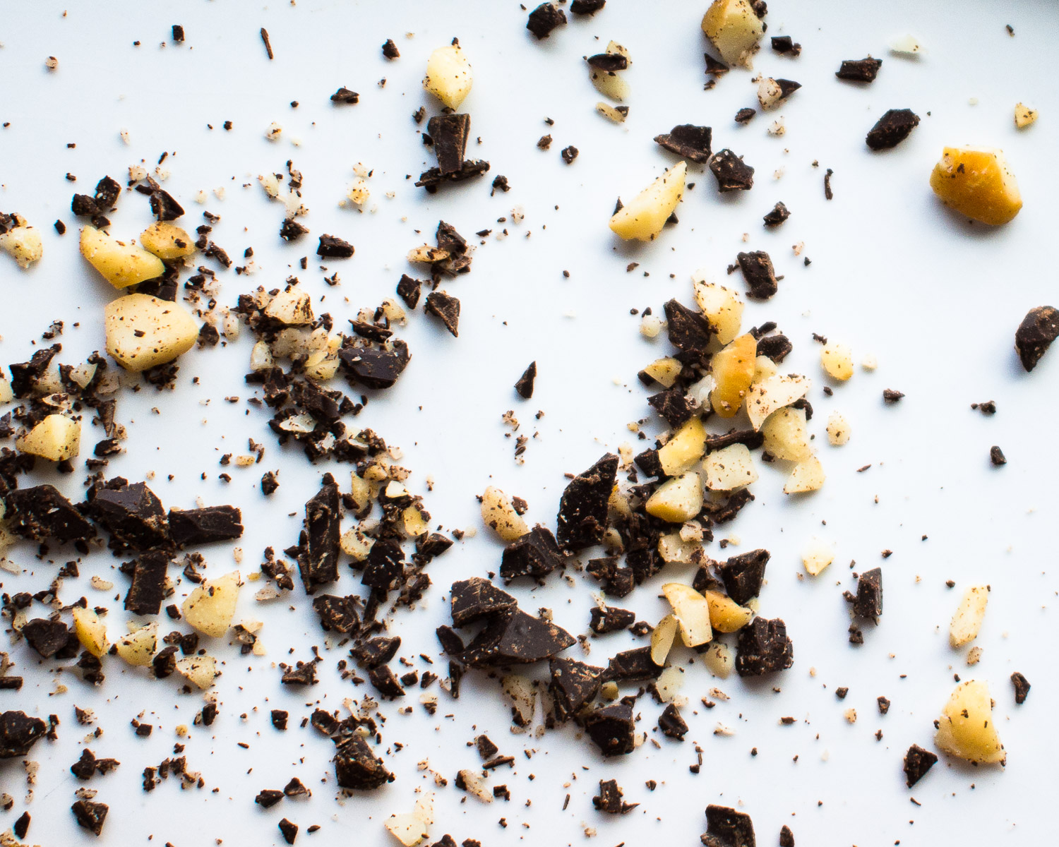 Coarsely chopped dark chocolate and macadamia nuts.