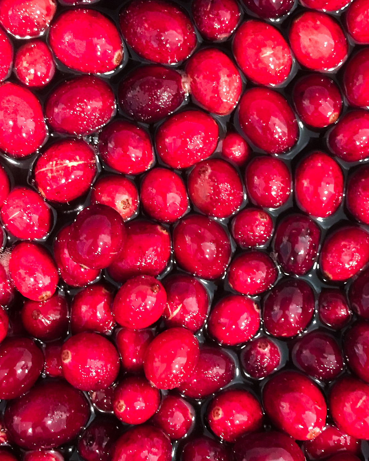 Fresh cranberries cooking in port.