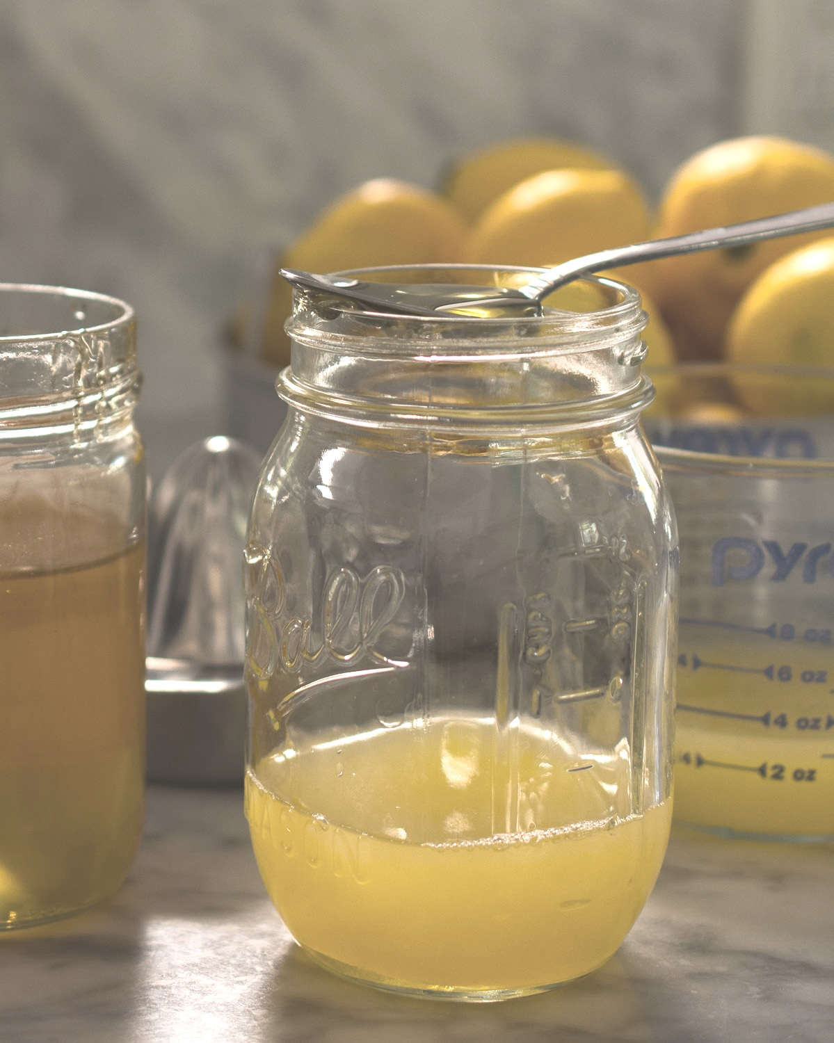 Fresh squeezed Meyer lemon juice and local honey.