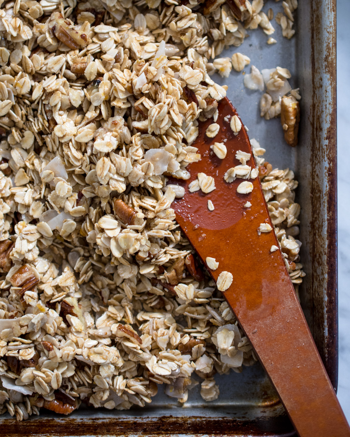 Lemon pecan granola, ready for roasting.
