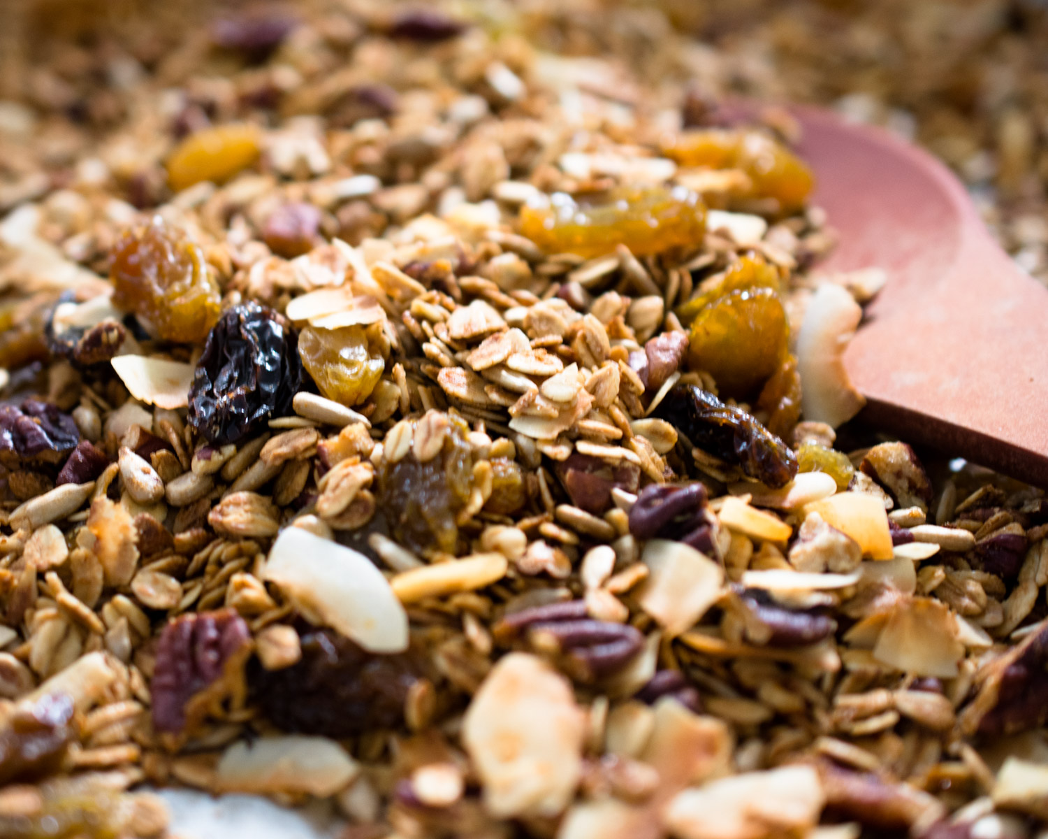 Lemon pecan granola, fresh out of the oven and ready to eat.