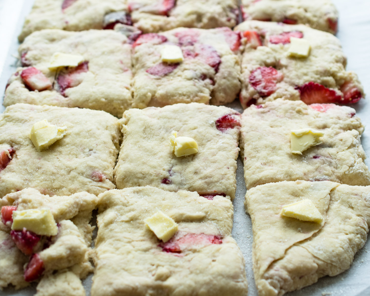 Strawberry biscuit dough ready to bake.