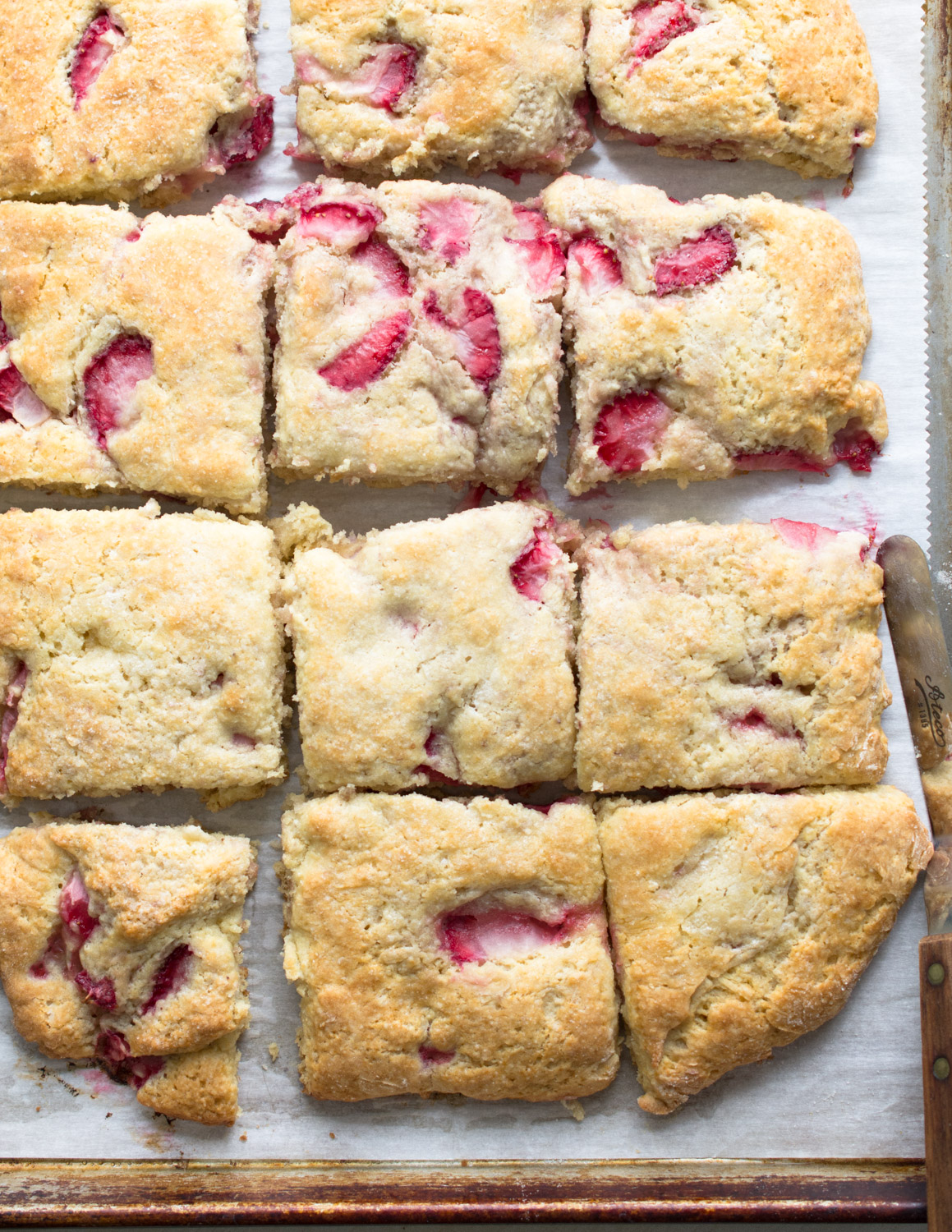 Fresh out of the oven strawberry biscuits.