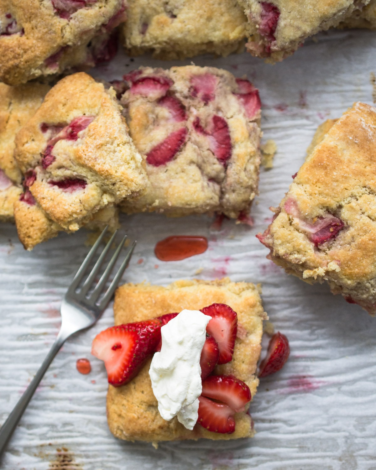 Grandmother's Strawberry Shortcake. Strawberry biscuits, strawberry sauce and whipped cream.