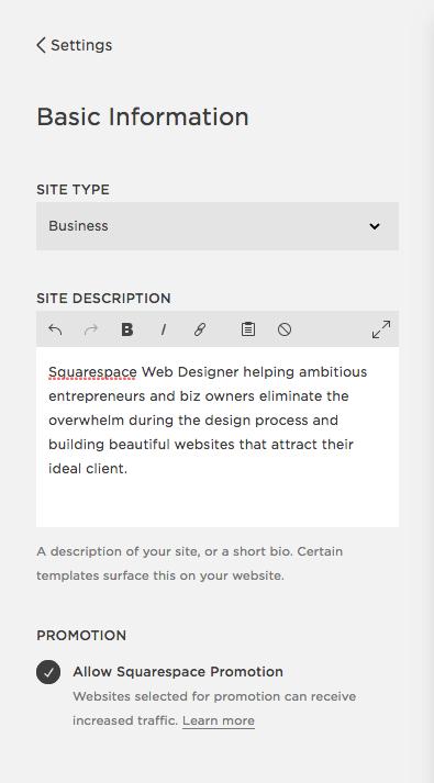 SEO | Squarespace | Site description