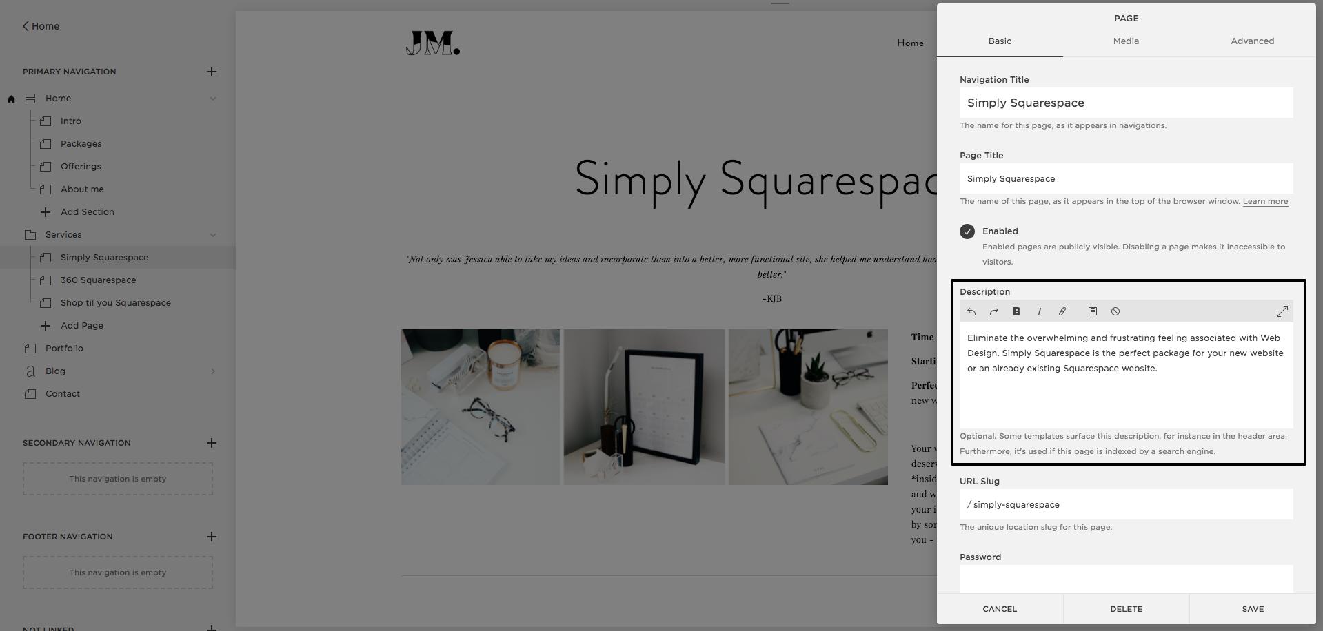 Squarespace | SEO | Page description