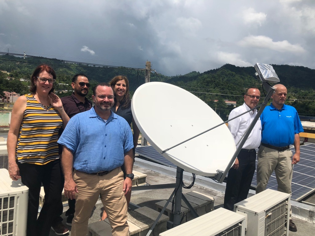 Installing Viasat Satellite Dish - A key element to resiliency in Puerto Rico is a reliable connectivity. Both Innovative Resilience locations on the island are fully equipped with Viasat's Satellite dishes.