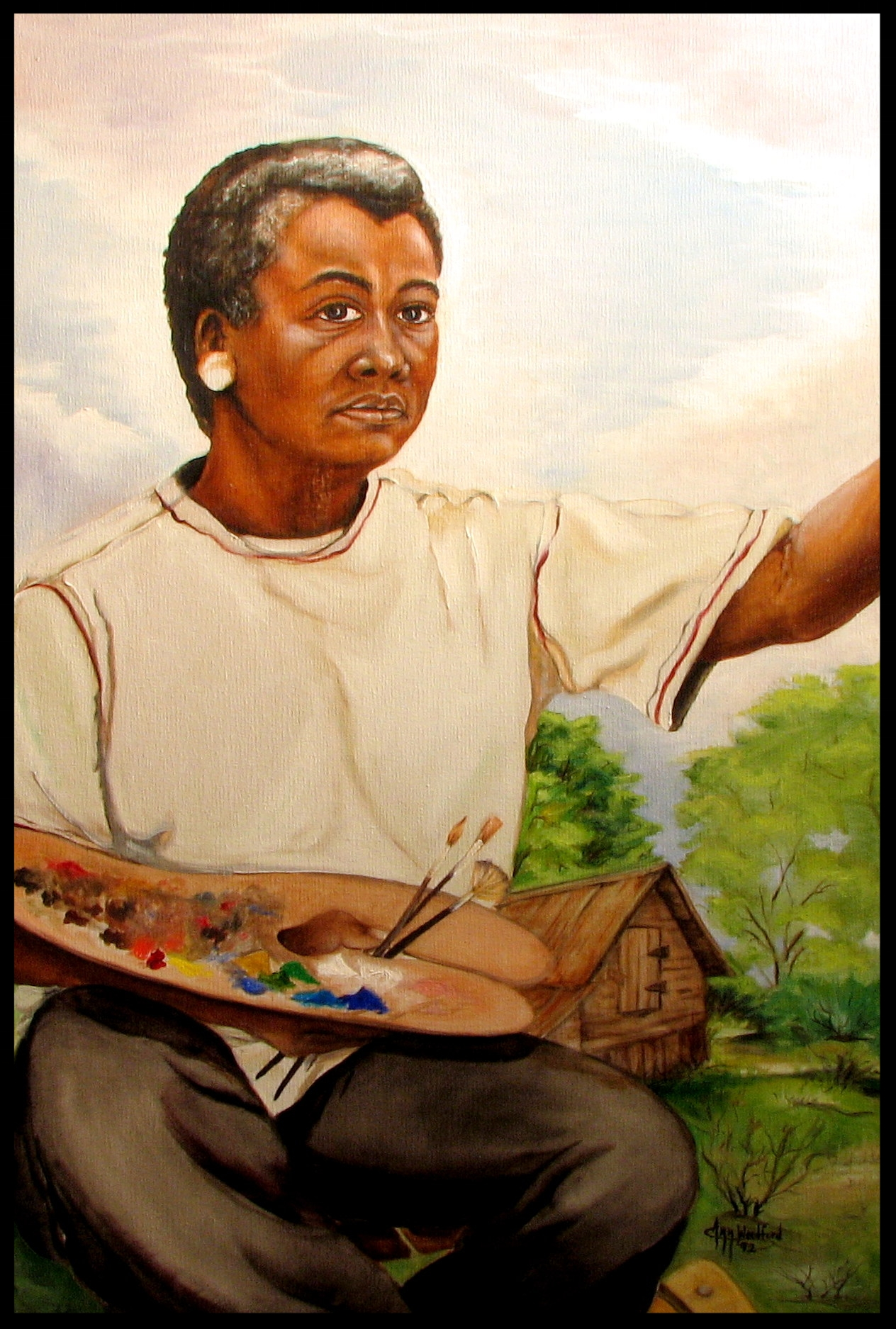 Ann Woodford painting of a black artist
