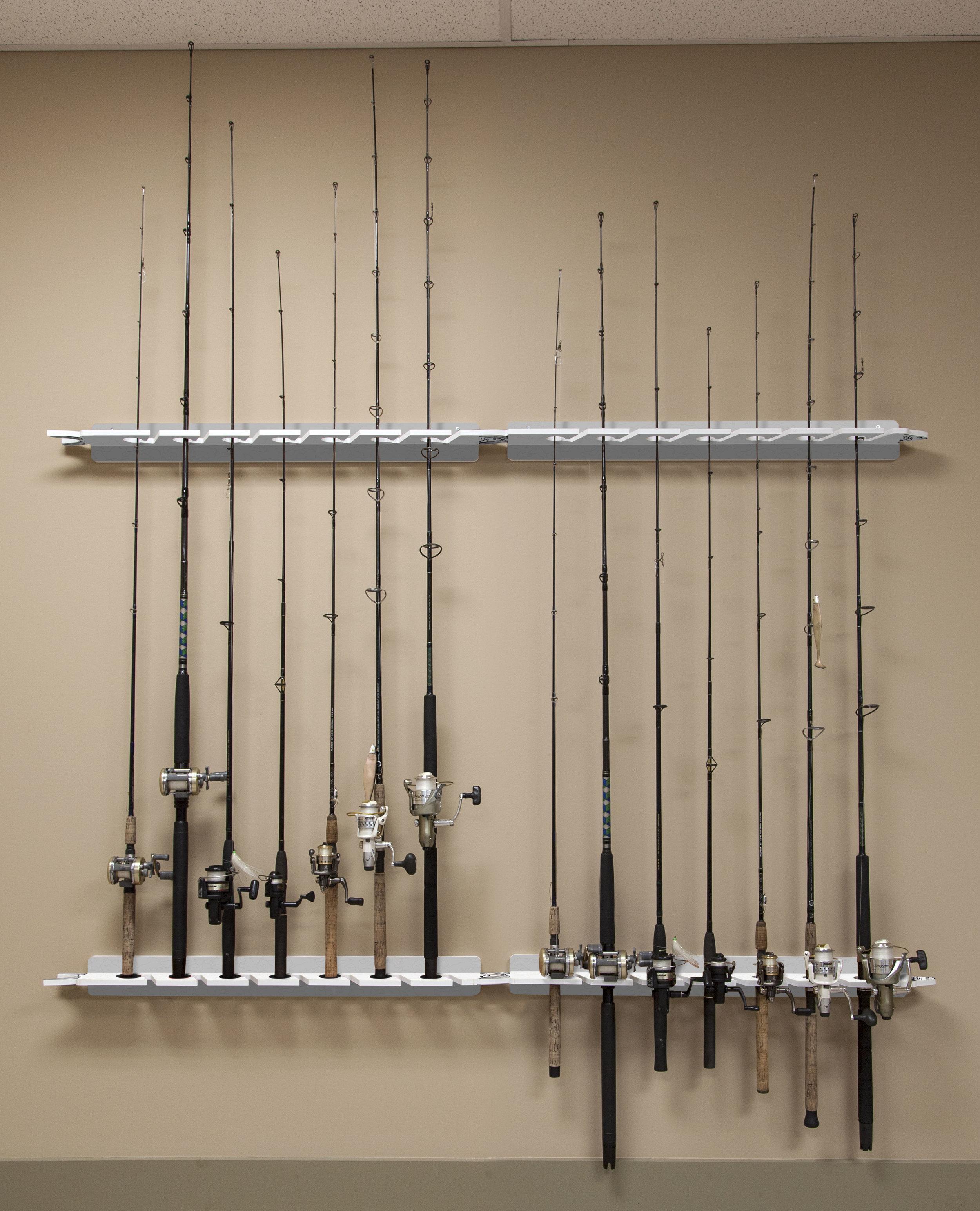 Fishing Rod Storage 11-Holder Camo Ceiling Mount Pole Reel Garage Organizer