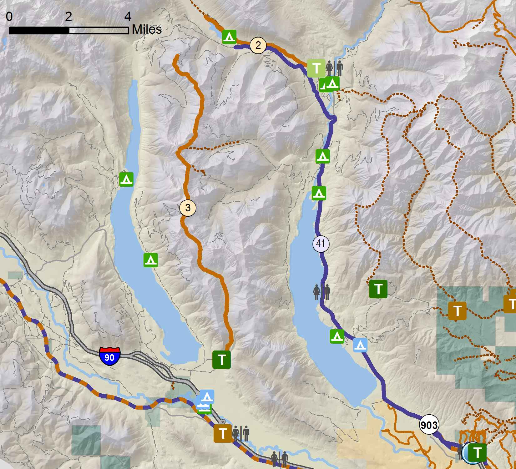Bike Map Inset - Kachees/Cle Elum