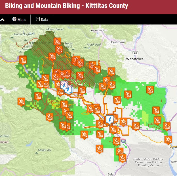 Interactive biking map for the  Central Washington Color  website. As you zoom in, the map includes hotels, campgrounds and other resources of interest to bikers. This is one of a set of maps, each focused on a different activity.