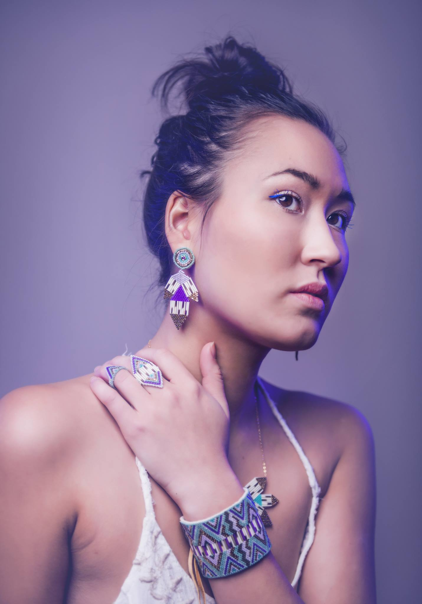 Jewellery: Beaded and Quill Cuff, Petal Earrings, Shield Ring. Photo Courtesy of: Angela Gzowski
