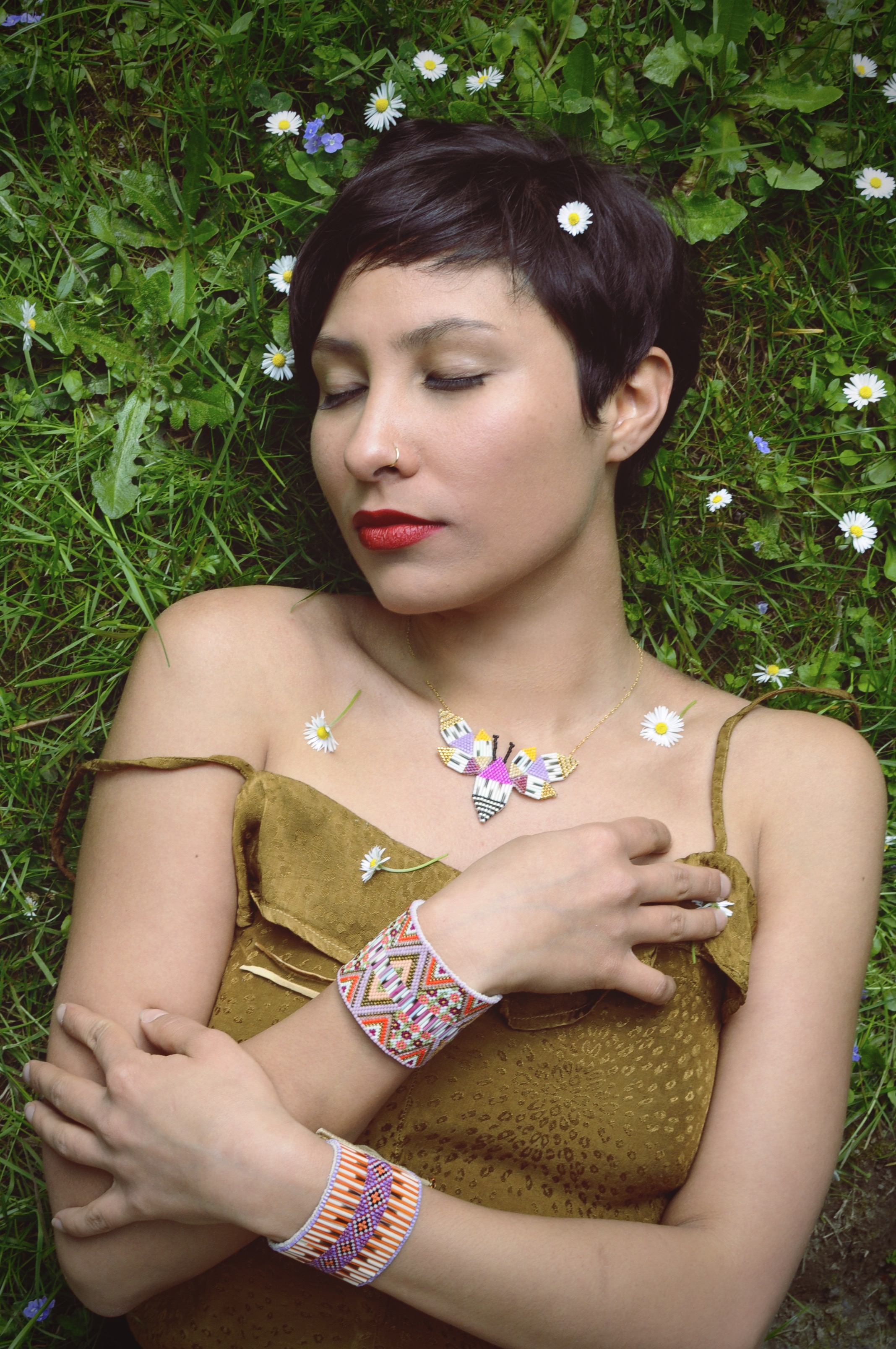 Jewellery: BumbleBee Necklace, Beaded & Quill Cuffs