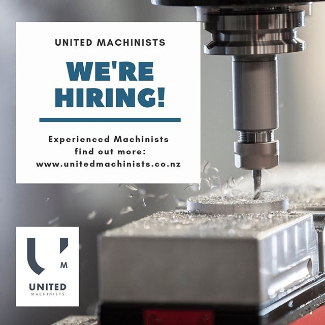 Are you the next member of our crew? Looking for machinists at the top of their game to join our award winning team.  Check it out - www.unitedmachinists.co.nz/news