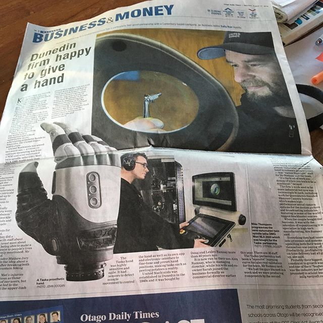 Thanks @otagodailytimes for the awesome full page write up in today's paper ! It's an absolute privilege for our team to help manufacture @taskaglobal hands. Improving lives all over the world is a career highlight for all of us. #machiningwithpurpose #highprecision #cnc #unitedmachinists  https://www.odt.co.nz/business/dunedin-firm-happy-give-hand