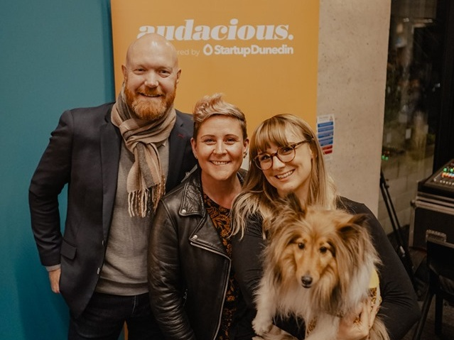 Product innovation winner, Hannah Rasmussen with Mango the Dog and Rebecca and Paul Twemlow from Firebrand.