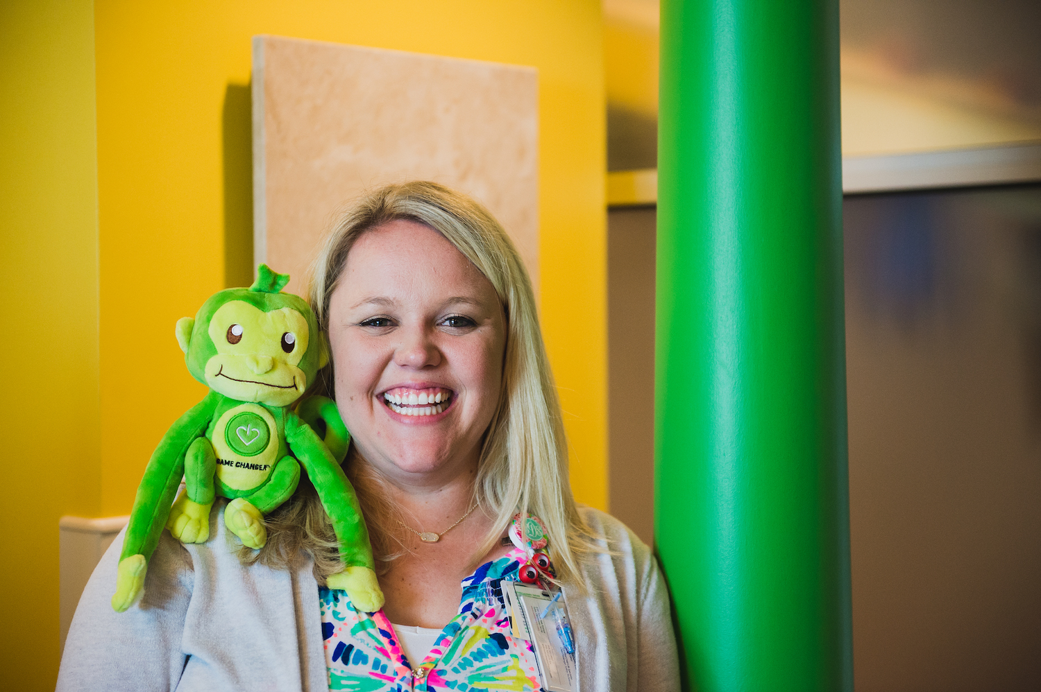 Child Life Specialist with GameChanger Charity Mascot Hope.jpg