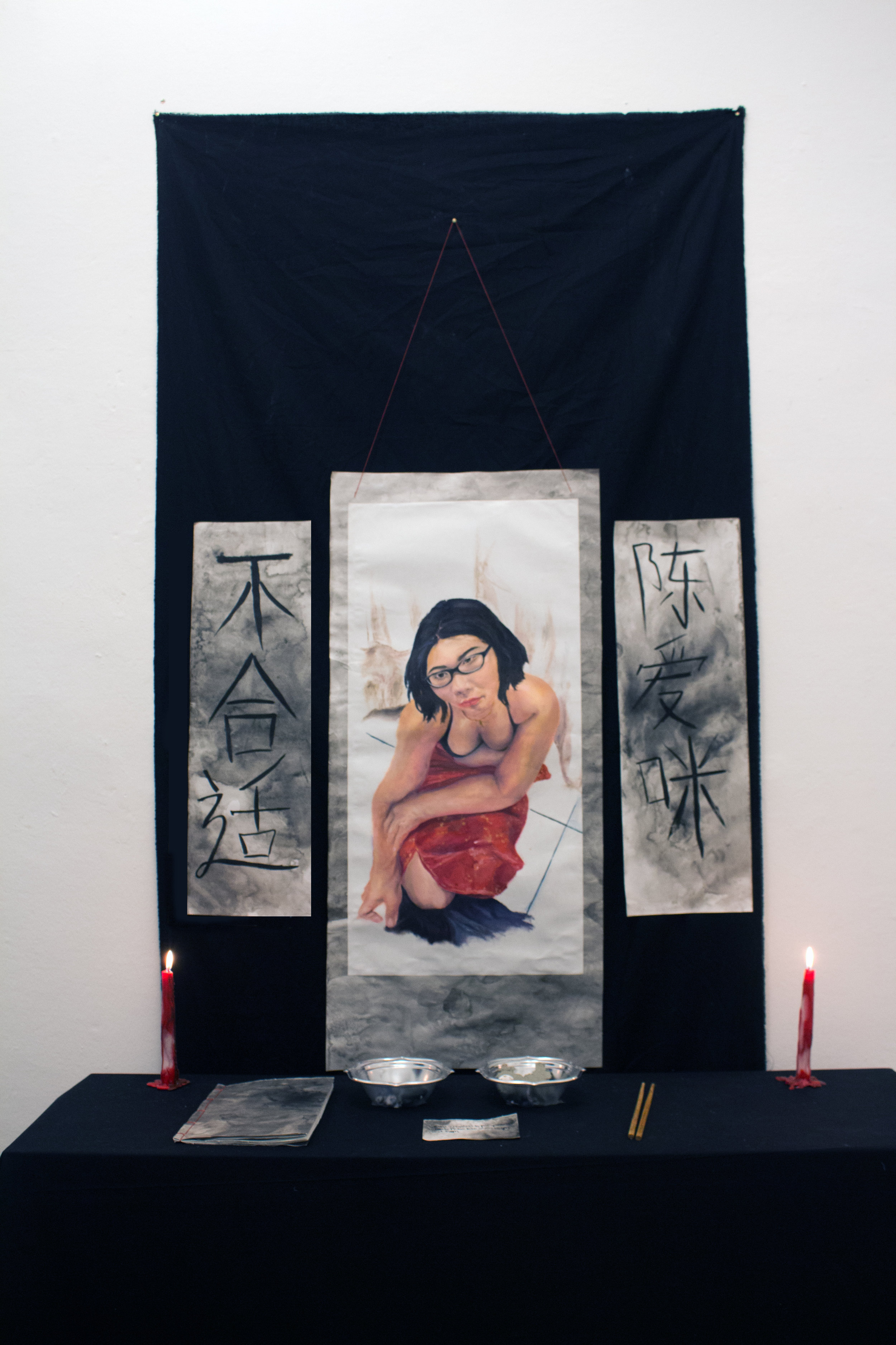 - Scroll painting: oil paint and india ink on rice paper, threadBook: monoprints with oil paint Chine-collé, ink,thread on rice paperAltar: candles, fabric, clay, marbles, styrofoam, bowls,ink, pen, chopsticks on tableDimensions variable2017