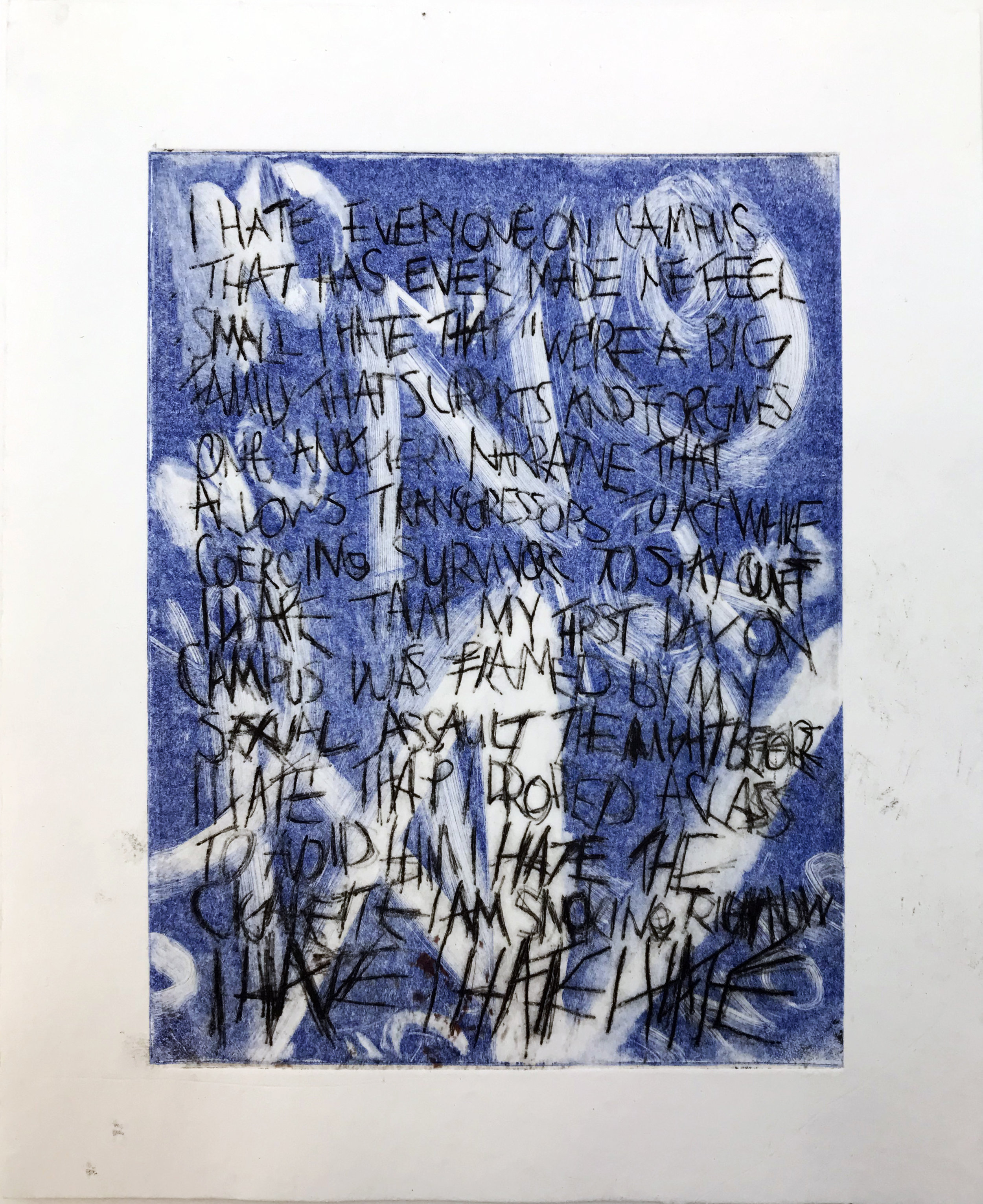 - Monoprint with drypoint