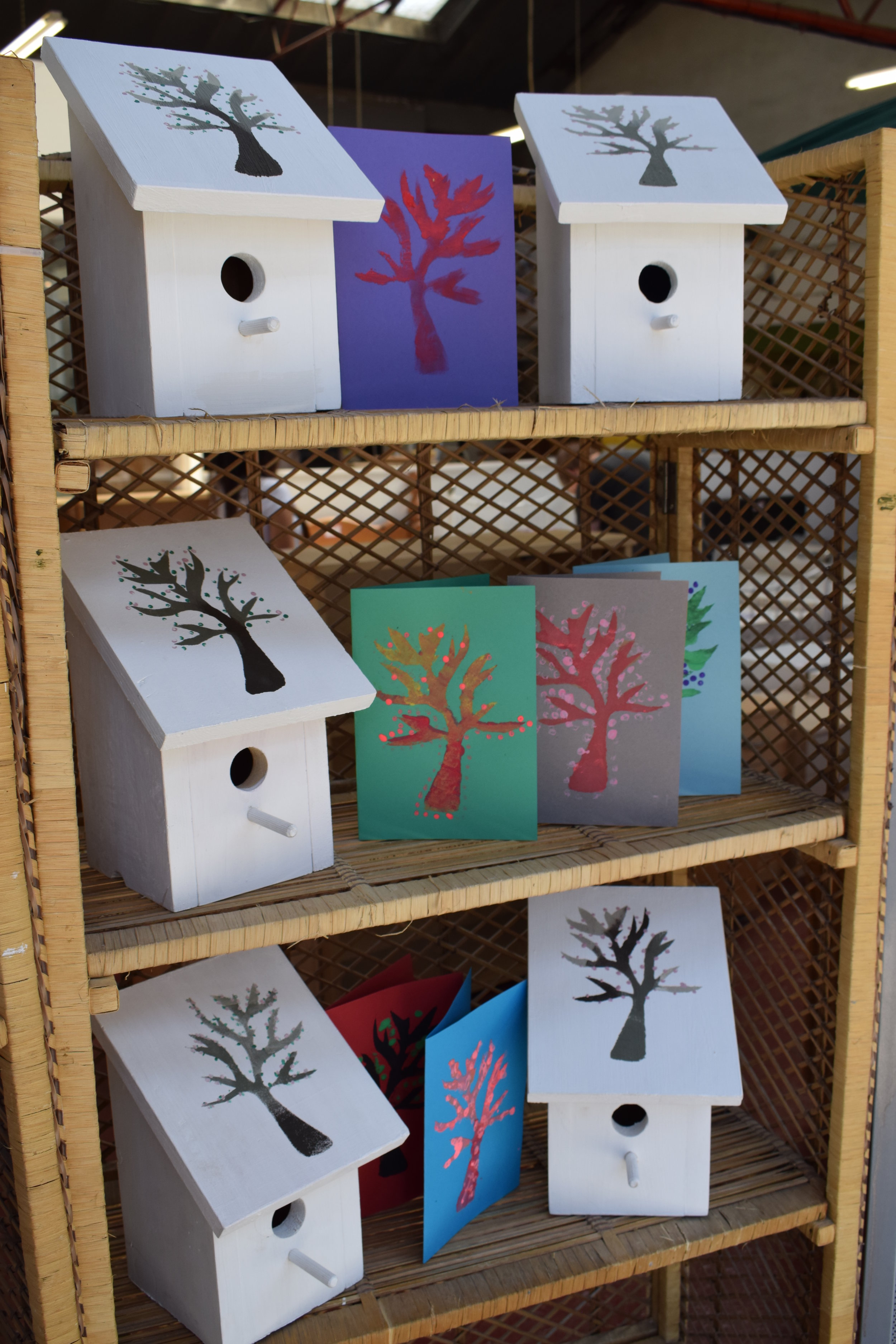 Bird houses upcycled by Lexdon Springs pupils and Emmaus companions.JPG