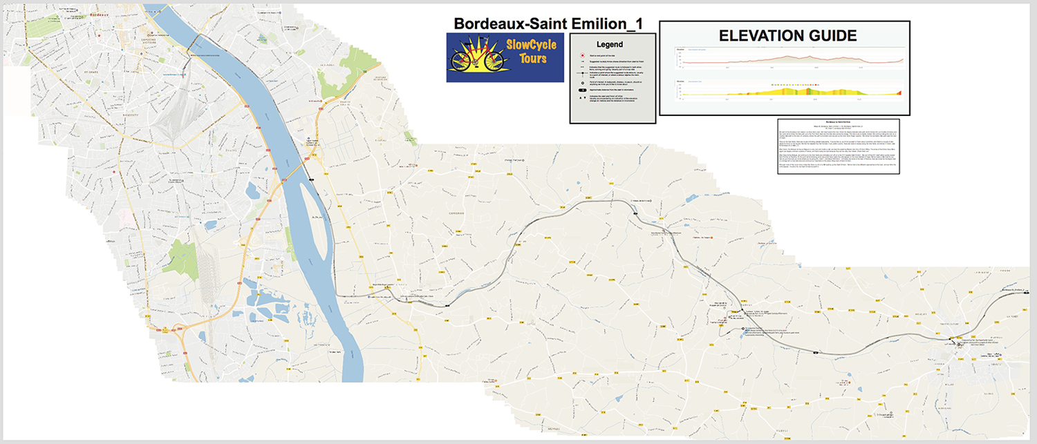 Again, the complete map for the first part of the route Bordeaux-Saint Emilion. On your device, you'll have to scroll to see the whole map. Here's what this map looks like on our iPad Mini at maximum zoom out: