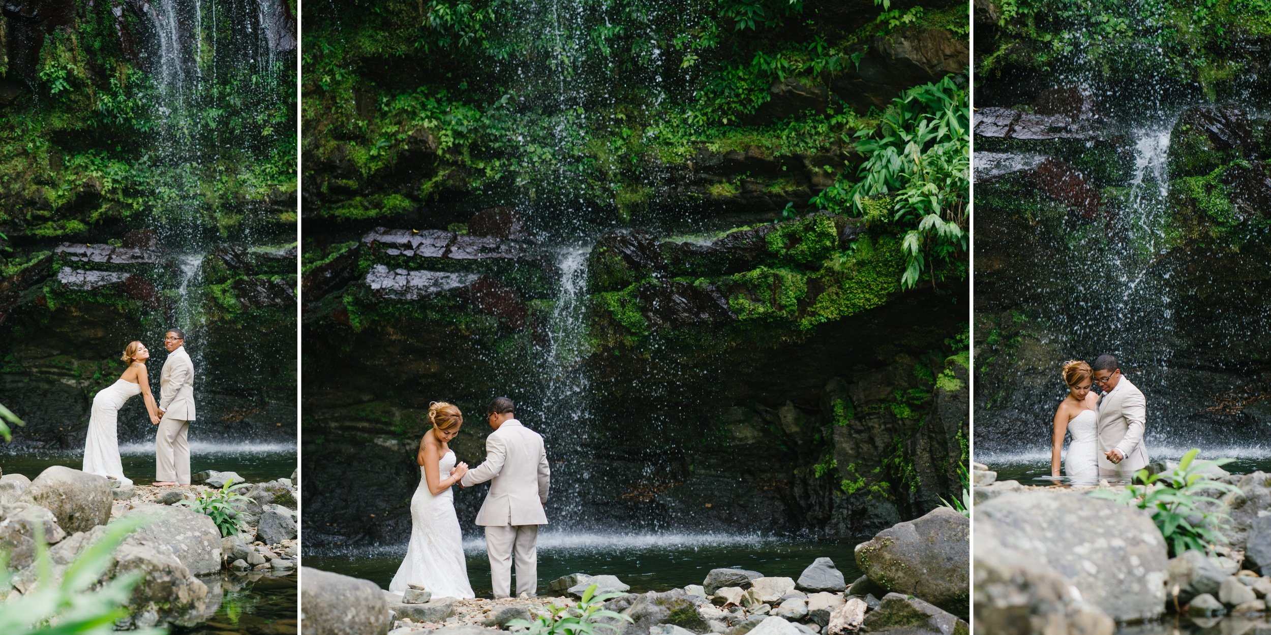 trash the dress in Puerto Rico waterfall
