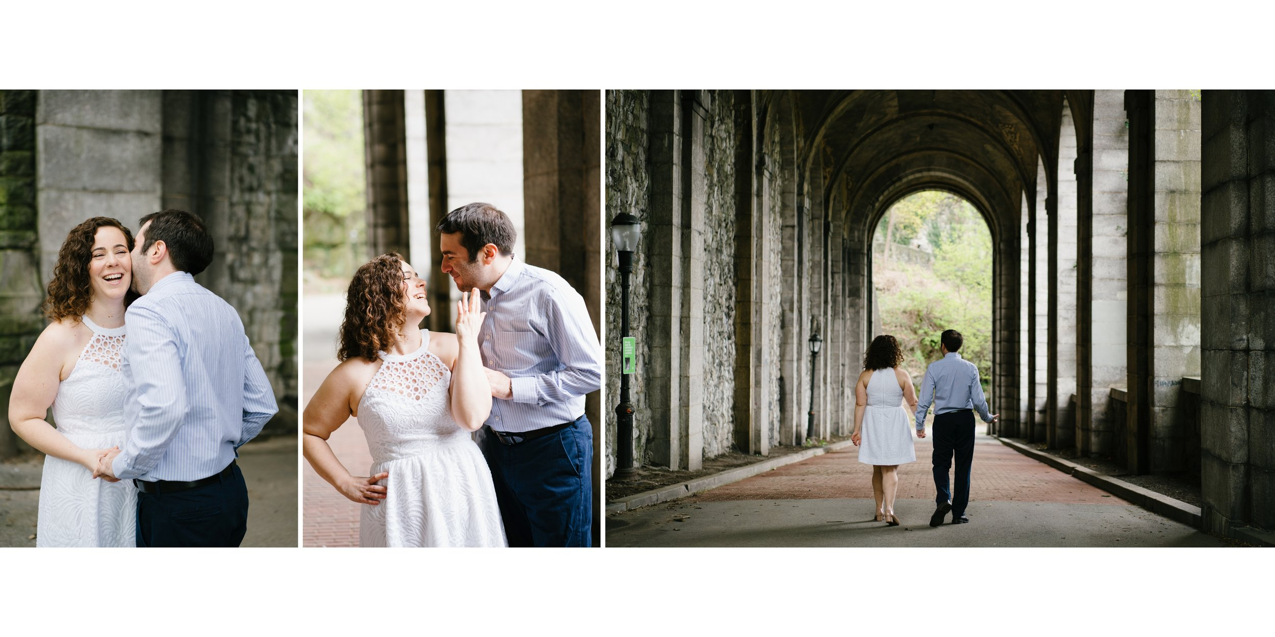 engagement session in NYC at fort Tryon park near the cloisters