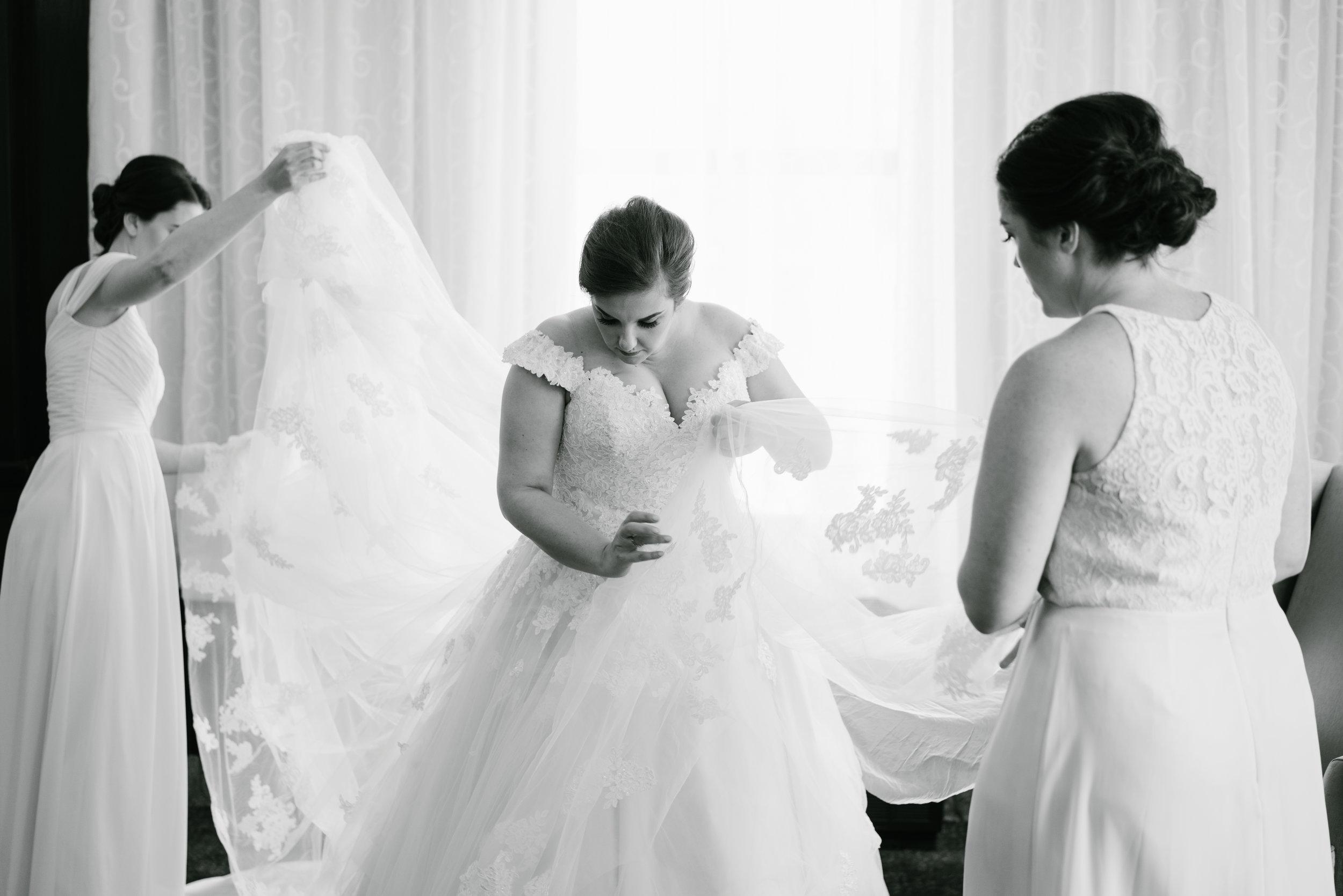 bride getting ready at pelican hill wedding