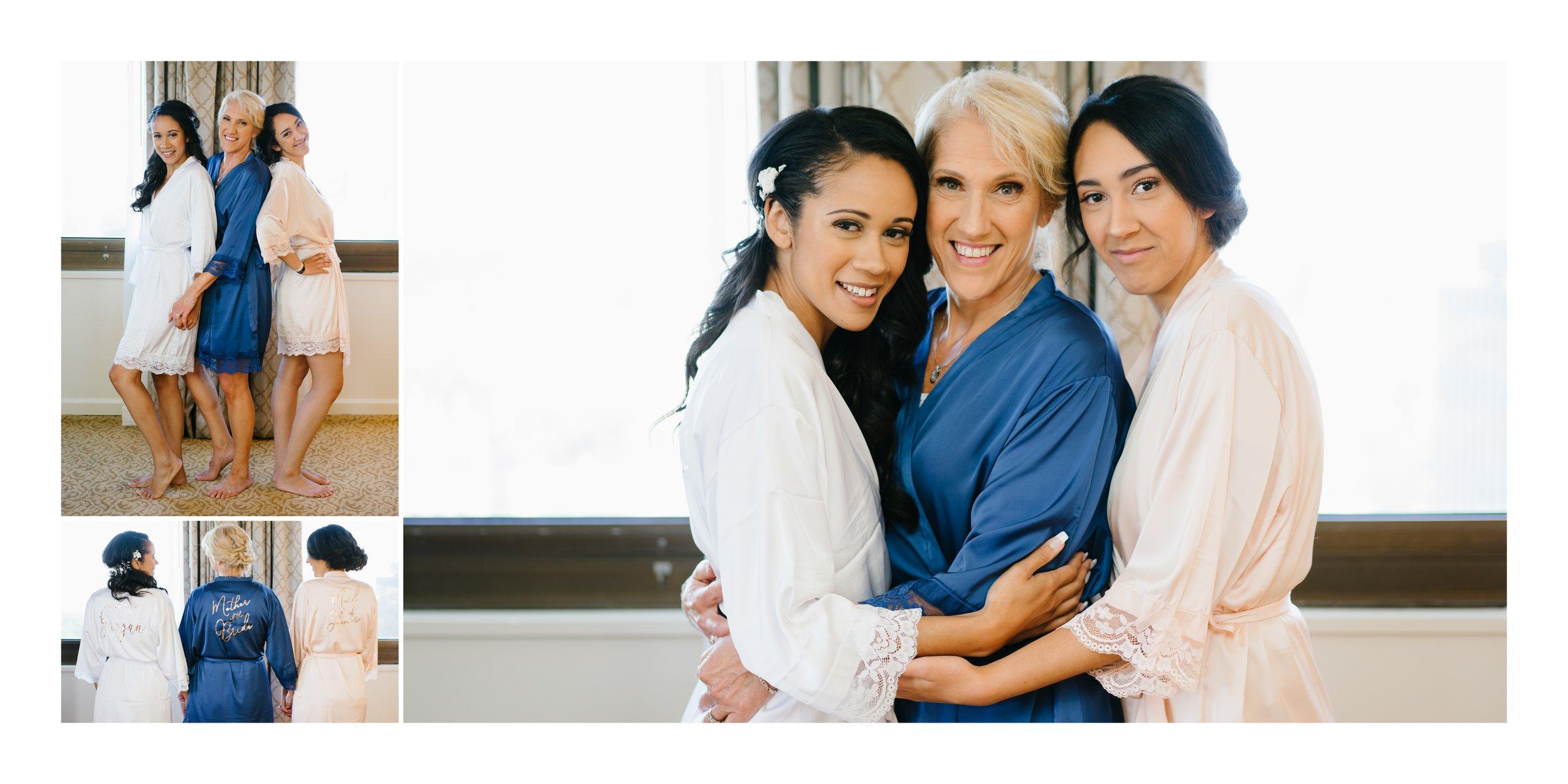 bride with mom at wedding in los angeles