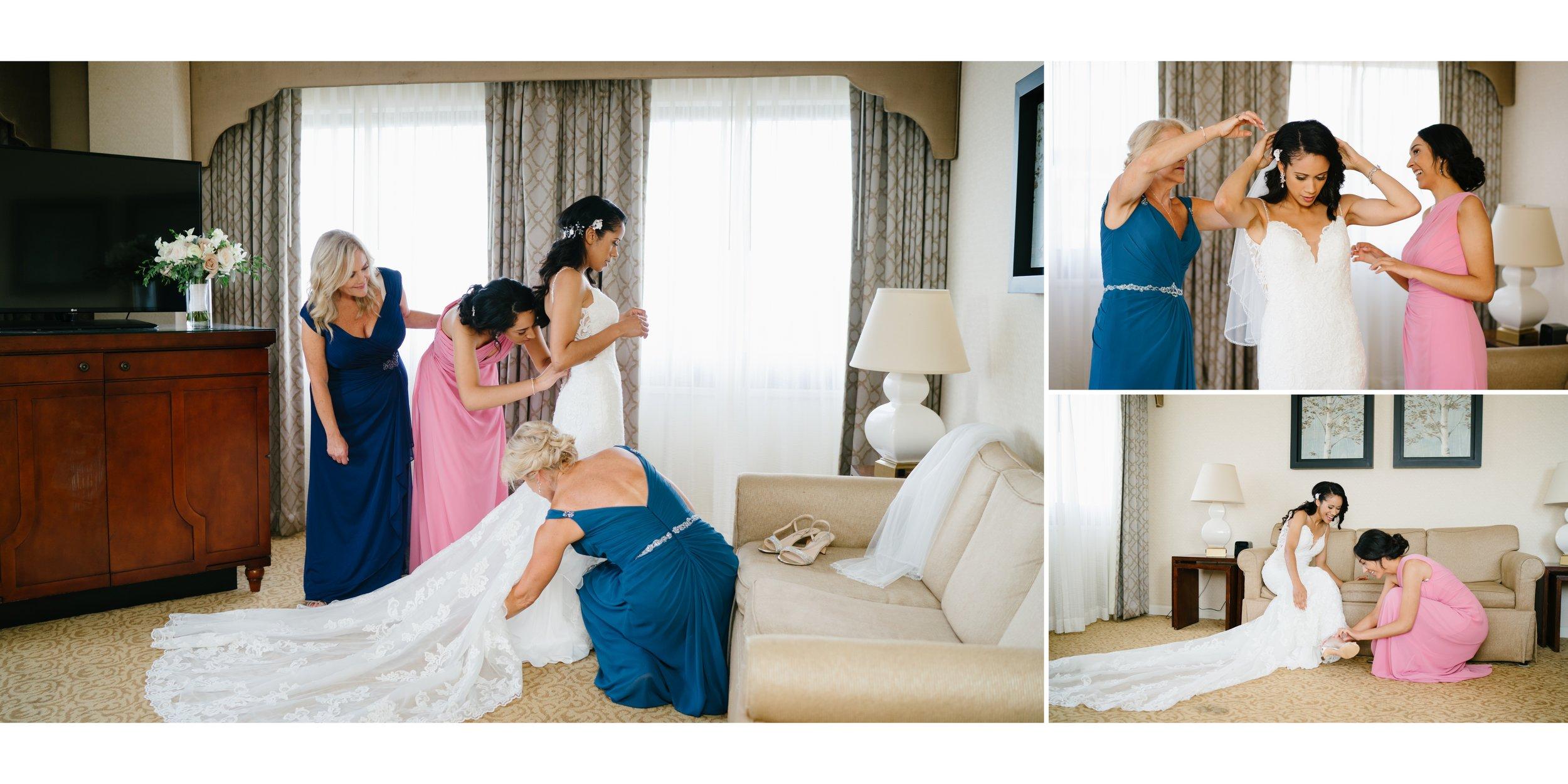 bride getting ready at wedding in los angeles wedding