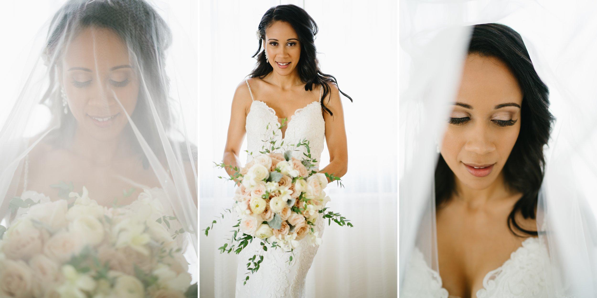 bride at beach wedding in los angeles