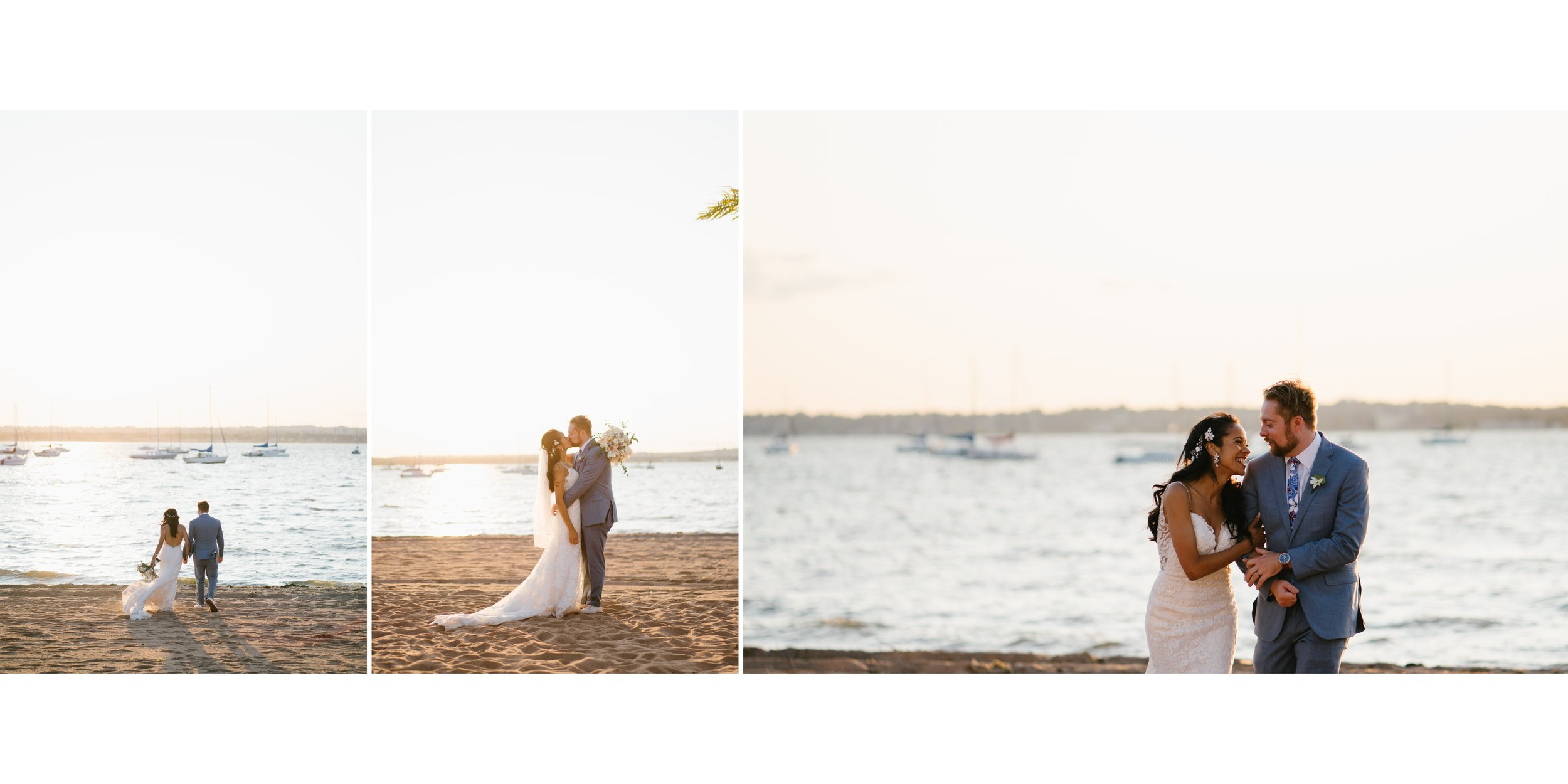 couple on beach at wedding in los angeles