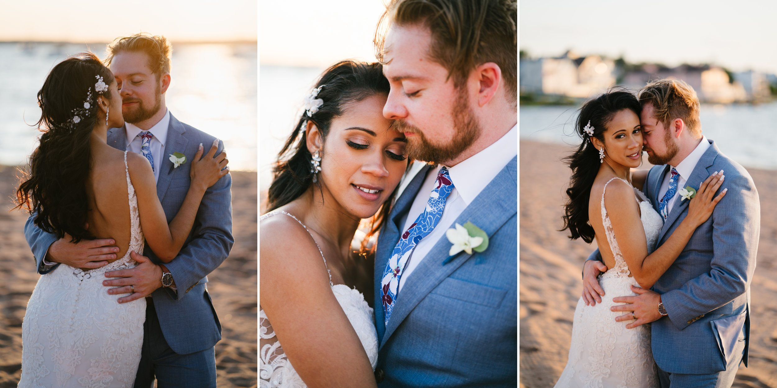 bride and groom portraits on the beach in los angeles wedding