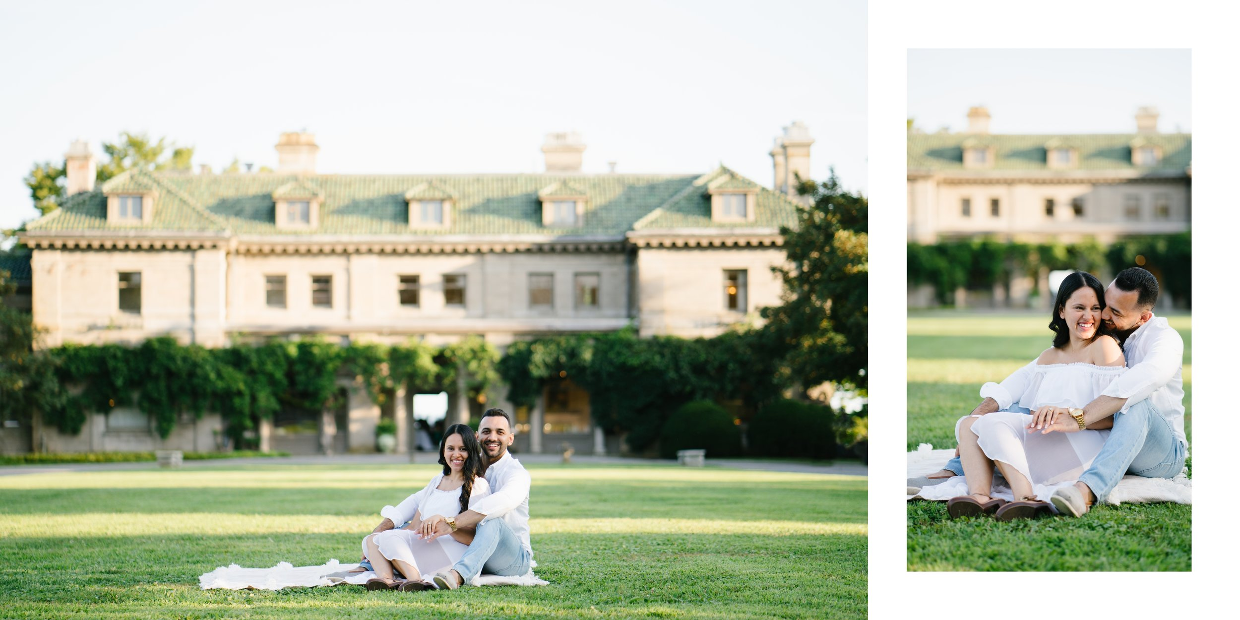 couple at greystone mansion and gardens in Beverly Hills