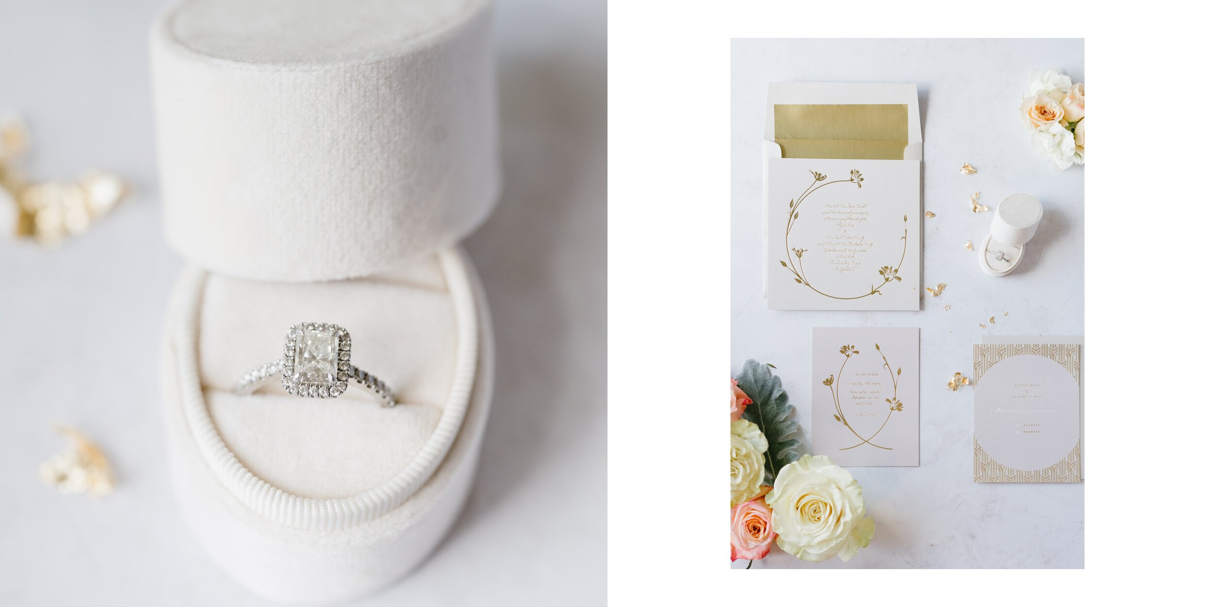 Wedding rings and invitations