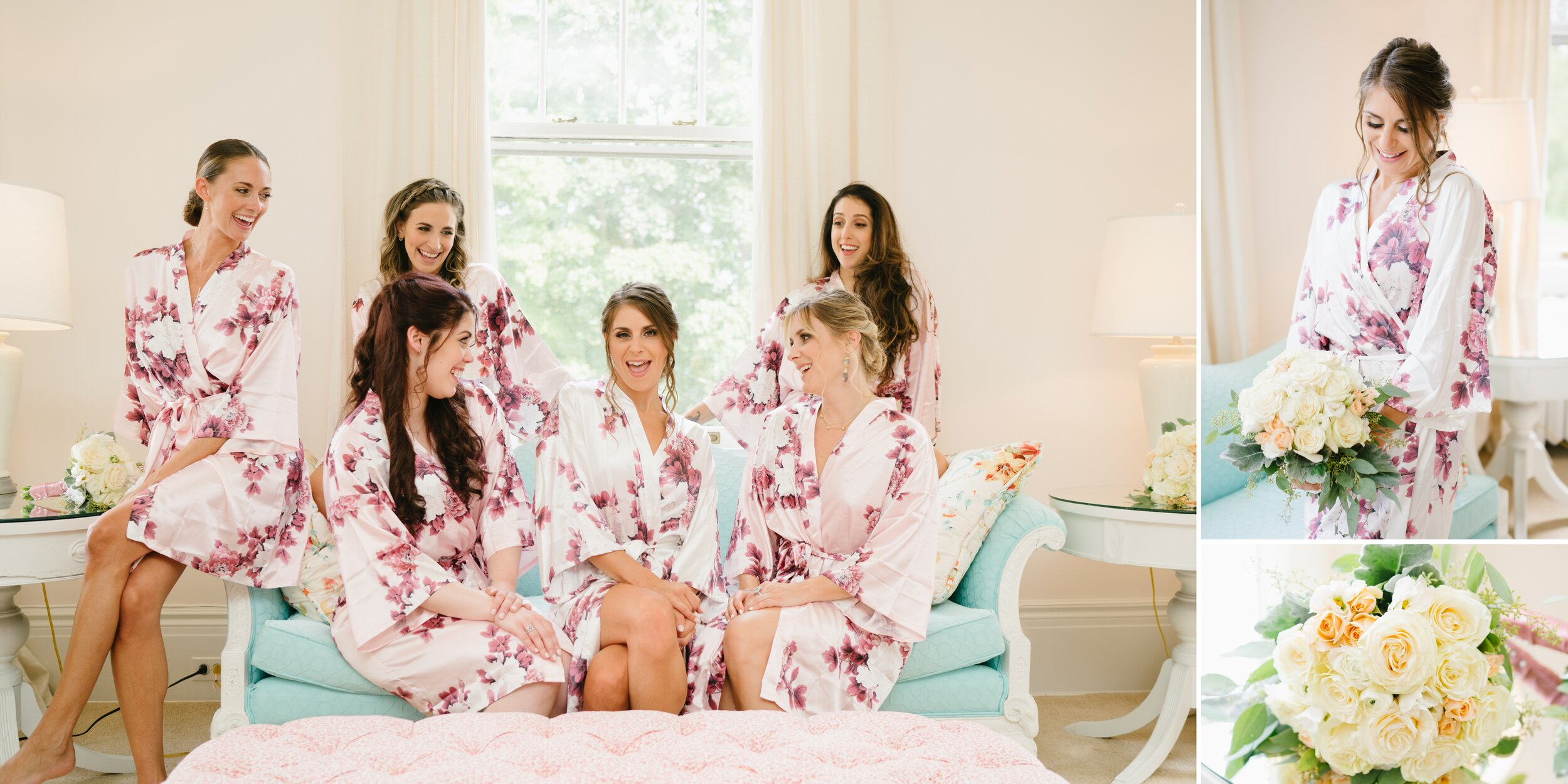 bridesmaids getting ready at Lounsbury House