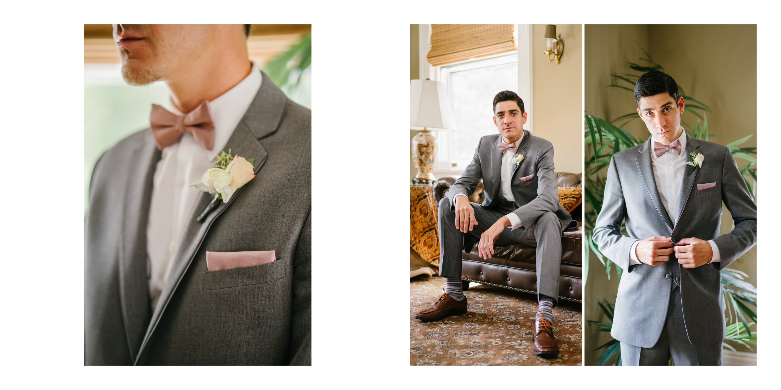 groom getting ready at Lounsbury house