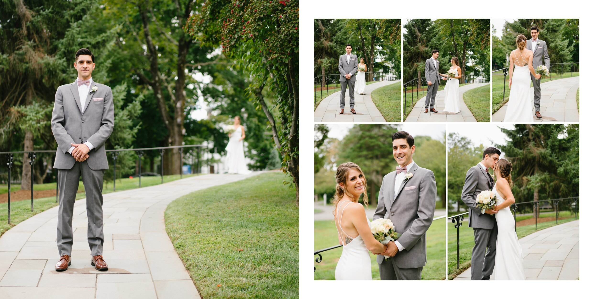 couples first look at wedding at Lounsbury house