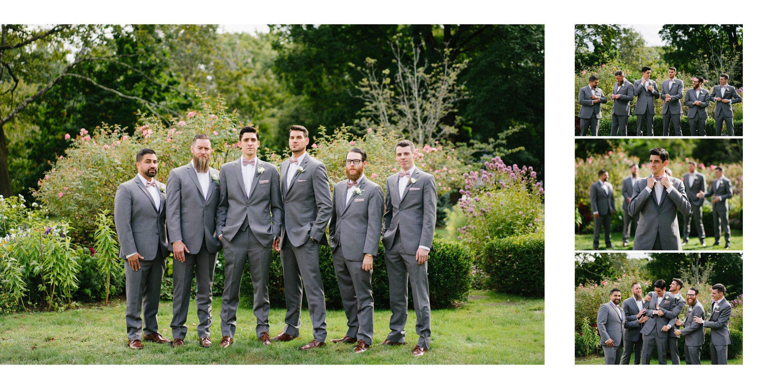 groomsmen at wedding at Lounsbury house