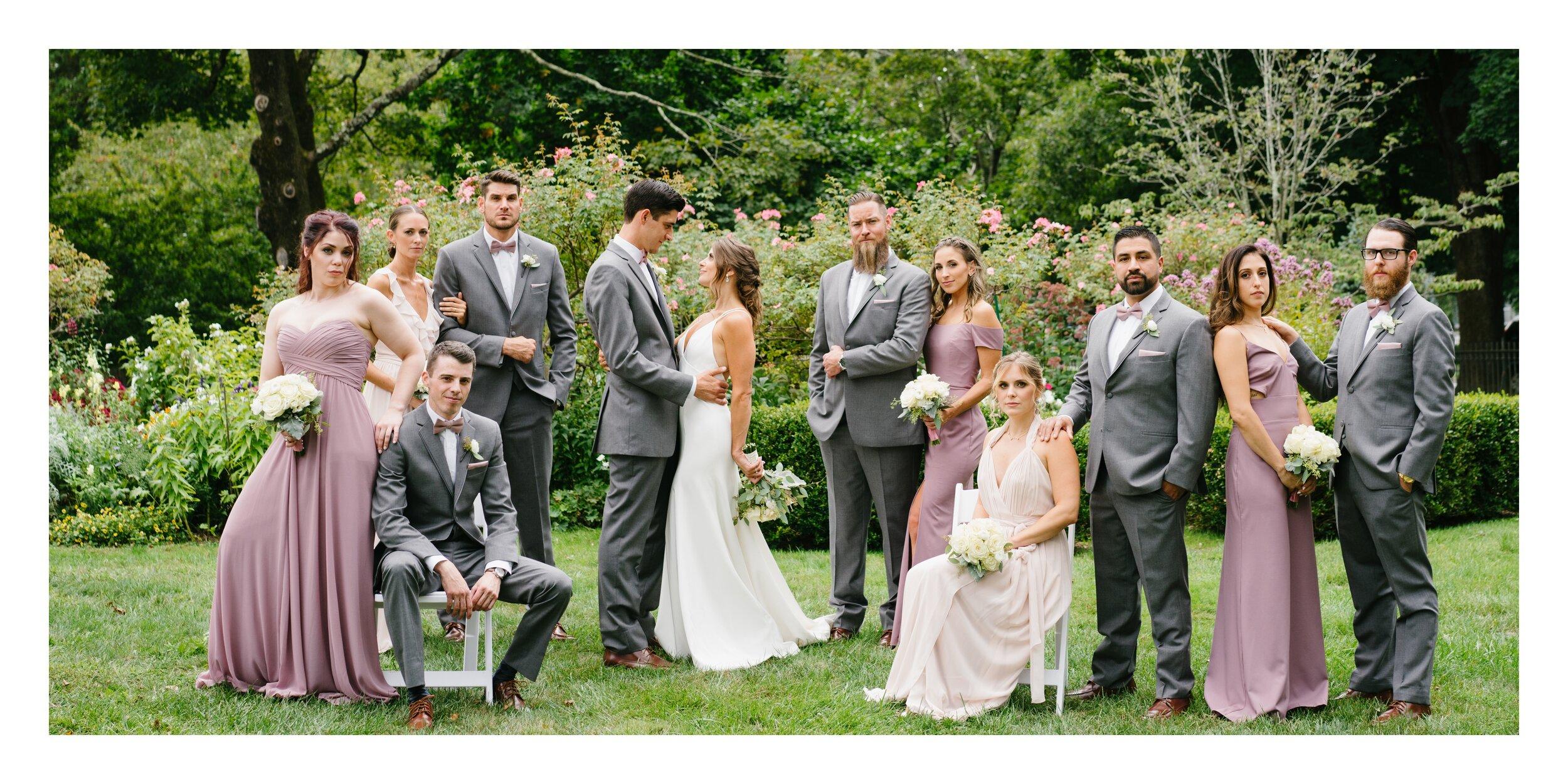 bridal party posing at Lounsbury house