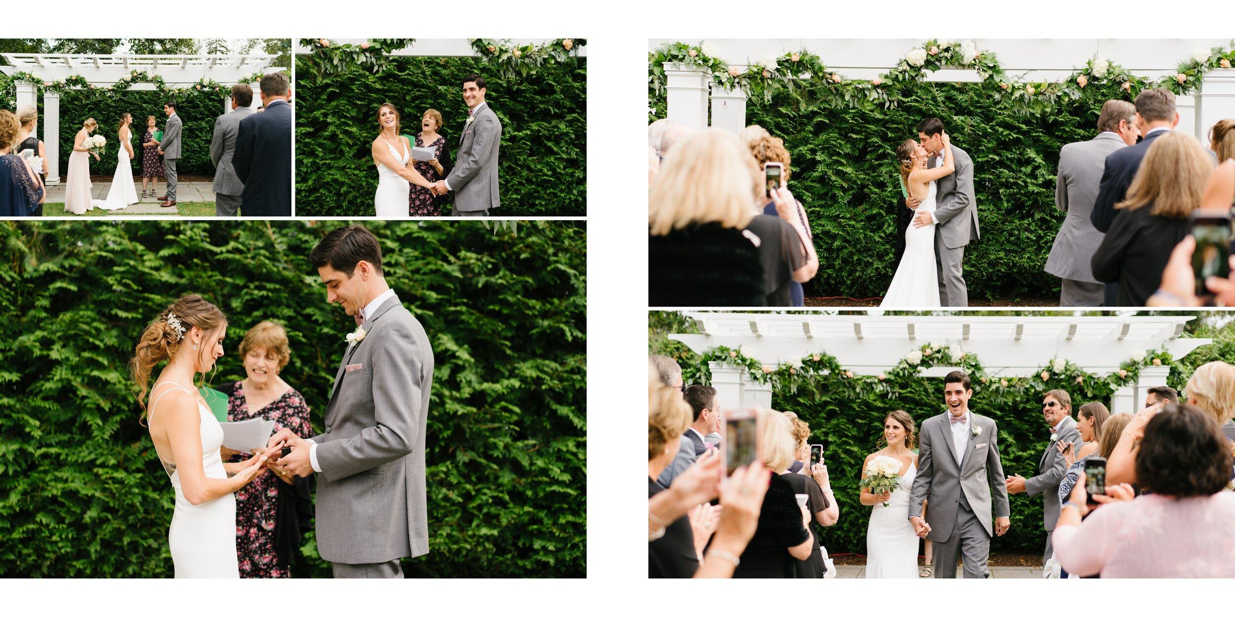 couples first kiss Lounsbury house wedding