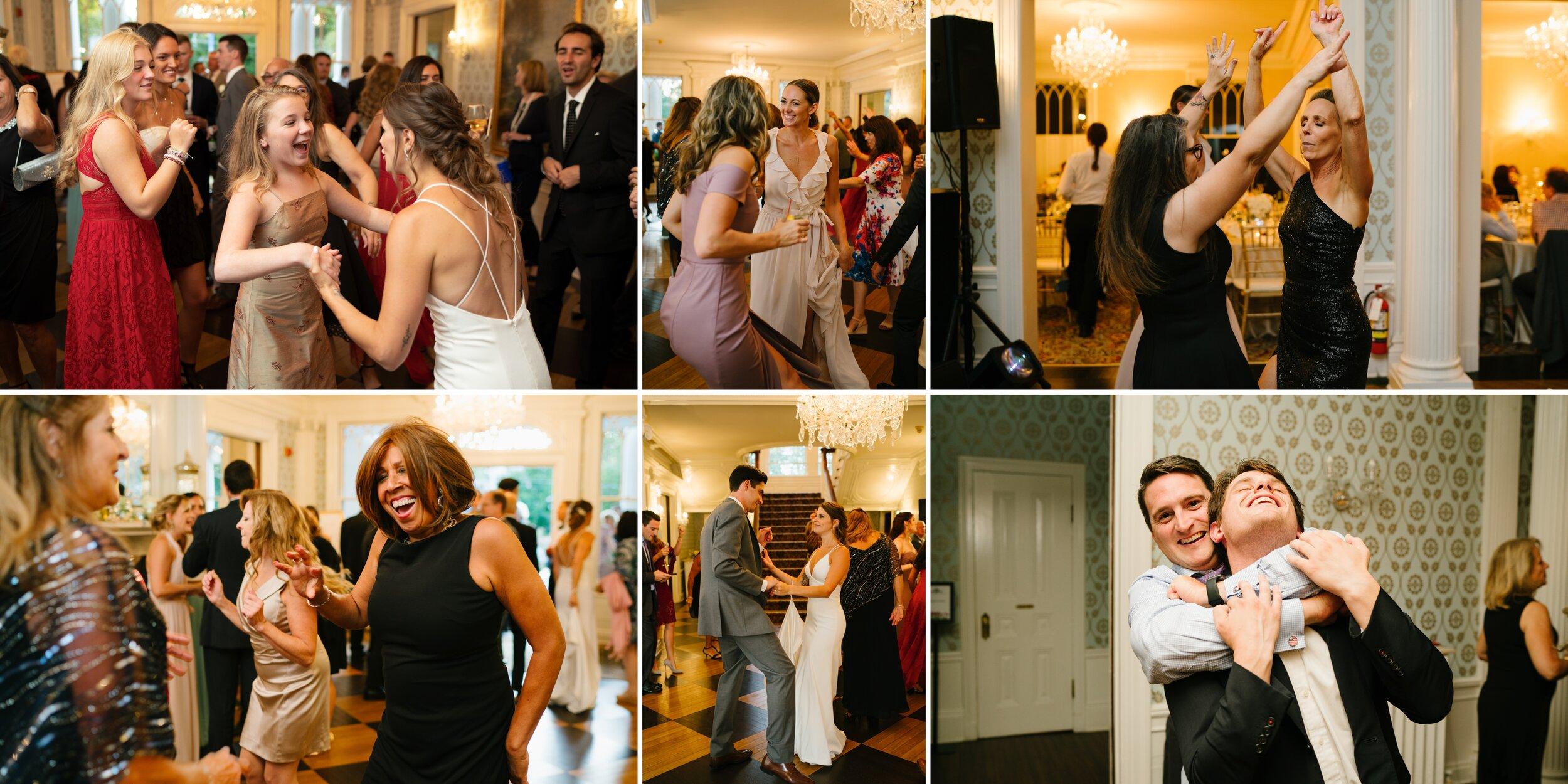 people dancing at lounsbury house wedding